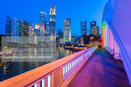 Elgin Bridge over Singapore River with Skyline at Dusk, Central Region, Singapore