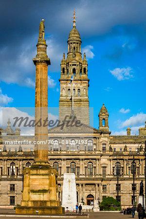 Sir Walter Scott Column and Glasgow City Chambers, George Square, Glasgow, Scotland, United Kingdom