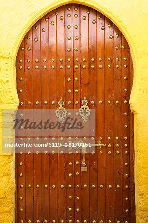 Traditional Moroccan decorative door, Rabat, Morocco, North Africa, Africa