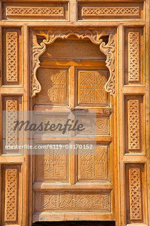 Traditional Moroccan decorative wooden door, Rabat, Morocco, North Africa, Africa