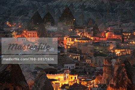 Overview of buildings at night, Goreme, Cappadocia, Nevsehir, Turkey