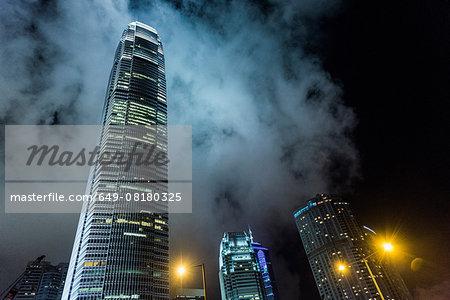 Skyscrapers at night, low angle view, Hong Kong, China