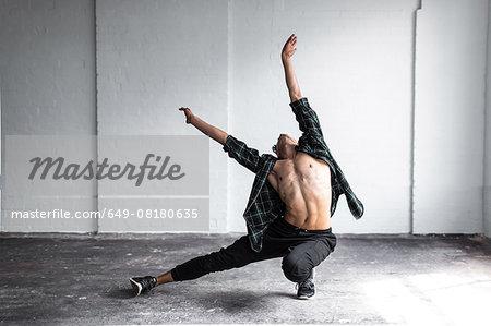Dancer practising in studio