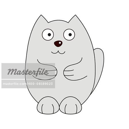 Cute cartoon kitty, vector illustration of grey funny fatty cat