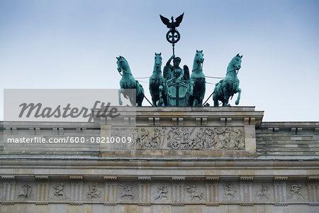 Close-up of Brandenburg Gate, Berlin, Germany.