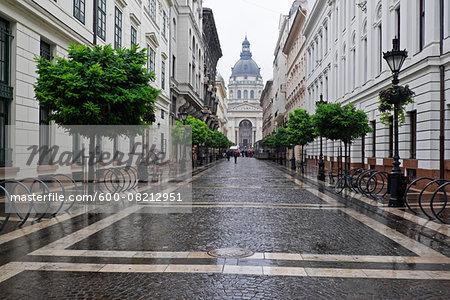 Cobblestone Lane and St Stepen's Basilica, Budapest, Hungary
