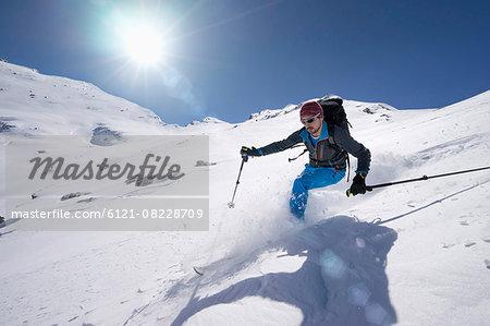 Man skiing, Val Gardena, Trentino-Alto Adige, Italy