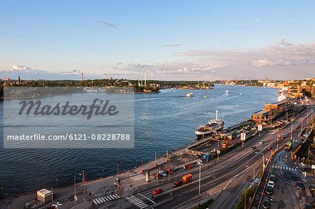 High angle view of city at waterfront, Stadsgardsleden, Kastellholmen, Stockholm, Sweden