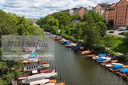 High angle view of boats moored at harbour, Palsundet, Sodermalm, Stockholm, Sweden