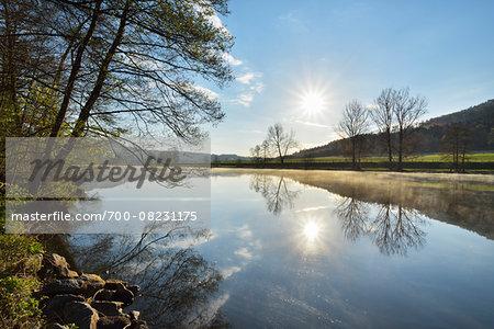 Landscape with Sun Reflected in the River Main in the Morning, Spring, Dorfprozelten, Churfranken, Spessart, Miltenberg-District, Bavaria, Germany