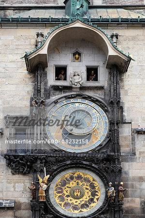 Close-up of Prague Astronomical Clock, Old Town Square, Prague, Czech Republic