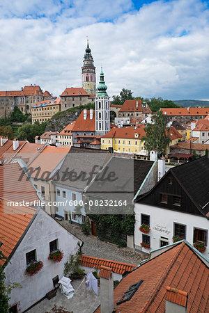 Overview of rooftops with Cesky Krumlov Castle, Cesky Krumlov, Czech Republic.