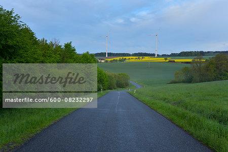 Rural Road in Spring, Schippach, Miltenberg, Odenwald, Bavaria, Germany