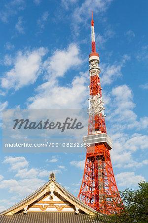 Zojo-ji Temple and Tokyo Tower at Shiba Park, Minato-ku, Tokyo, Japan