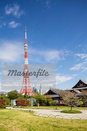 Zojo-ji and Tokyo Tower at Shiba Park, Minato-ku, Tokyo, Japan
