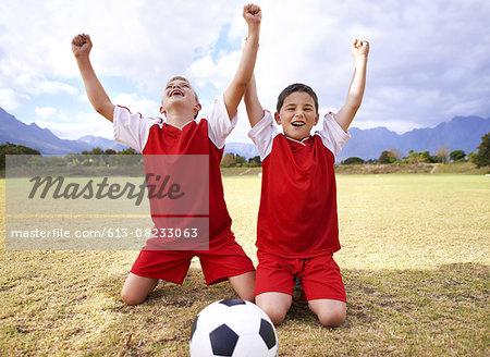Celebrating their goal!
