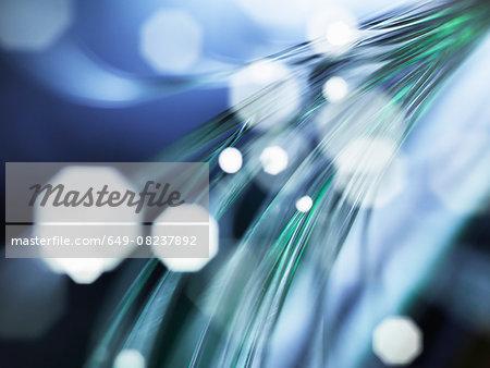 Strands of fibre optic used to send data, close-up
