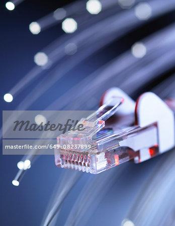 Internet network connector with fibre optics, close-up