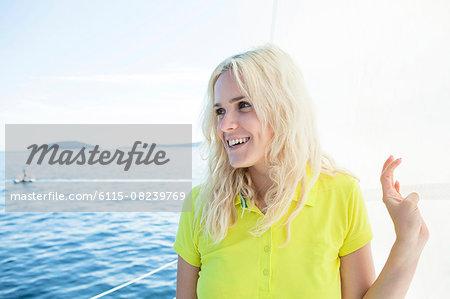 Portrait of woman on sailboat, Adriatic Sea