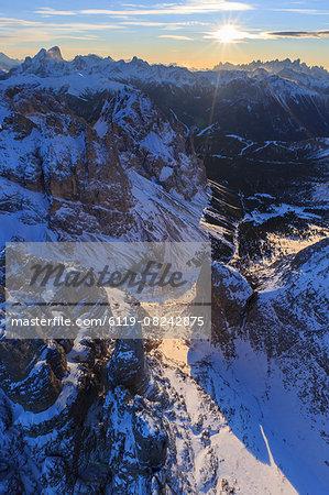 Aerial view of Catinaccio Group at sunset, Sciliar Natural Park, Dolomites, Trentino-Alto Adige, Italy, Europe
