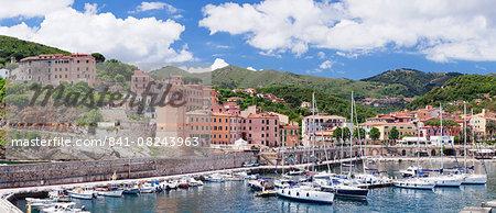 Harbour, clock tower, Rio Marina, Island of Elba, Livorno Province, Tuscany, Italy, Mediterranean, Europe