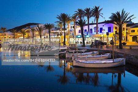 Restaurants at night along the harbour, Fornells, Menorca, Balearic Islands, Spain, Mediterranean, Europe