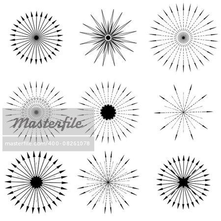Set of Retro Sunbursts Symbols Isolated on White Background