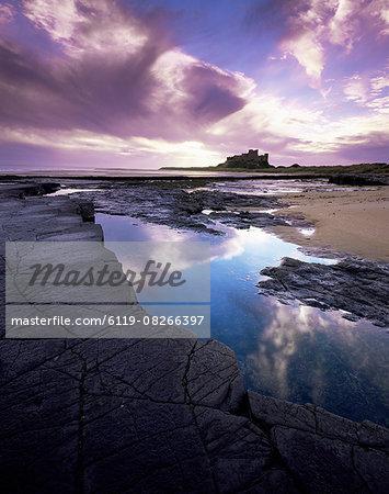 Bamburgh Castle at dawn, Northumberland, England, United Kingdom, Europe