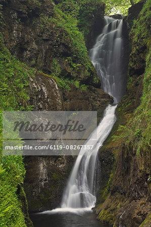 Ess-na-Larach waterfall, Glenariff Country Park near Waterfoot, County Antrim, Ulster, Northern Ireland, United Kingdom, Europe