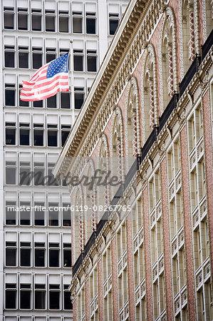 U.S. flag, Downtown, Los Angeles, California, United States of America, North America