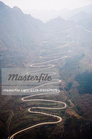 A winding mountain road, China, Asia