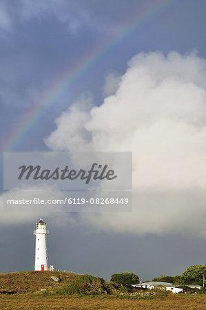 Rainbow and Cape Egmont Lighthouse, Taranaki, North Island, New Zealand, Pacific