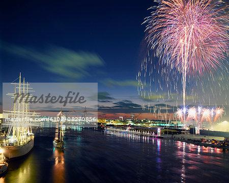 Fireworks above city