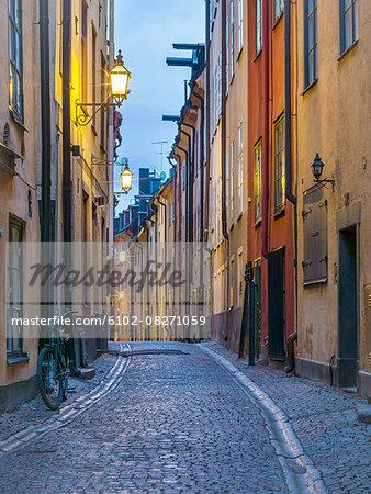 Narrow street at dusk
