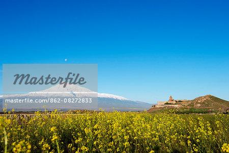 Eurasia, Caucasus region, Armenia, Khor Virap monastery, Mount Ararat (5137m) highest mountain in Turkey photographed from Armenia