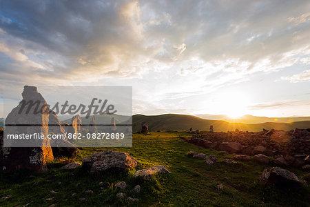 Eurasia, Caucasus region, Armenia, Syunik province, Karahunj Zorats Karer, prehistoric archaeological 'stonehenge' site