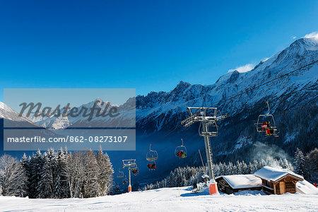 Europe, France, Haute Savoie, Rhone Alps, Chamonix Valley, Les Houches ski resort and mountain restaurant