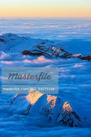 Europe, France, Haute Savoie, Rhone Alps, Chamonix, sea of clouds weather inversion over Chamonix valley