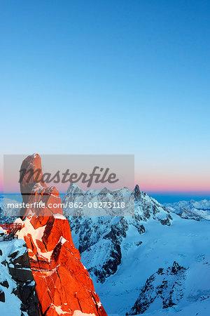 Europe, France, Haute Savoie, Rhone Alps, Chamonix, rock formation on Cosmique arete and Grandes Jorasses (4208m), Dent de Geant