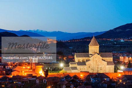 Eurasia, Caucasus region, Georgia, Mtskheta, historical capital, Svetitskhoveli Cathedral, 11th century built by Patriach Melkisedek, and Bebris Tsikhe castle, Unesco