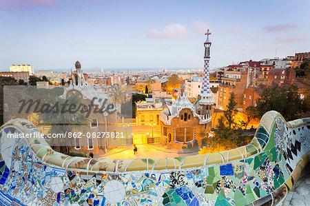 Barcelona, Park Guell, Spain, the modernism park designed by Antonio Gaudi, dusk