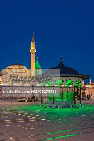Night view of Mevlana Museum, Konya, Turkey