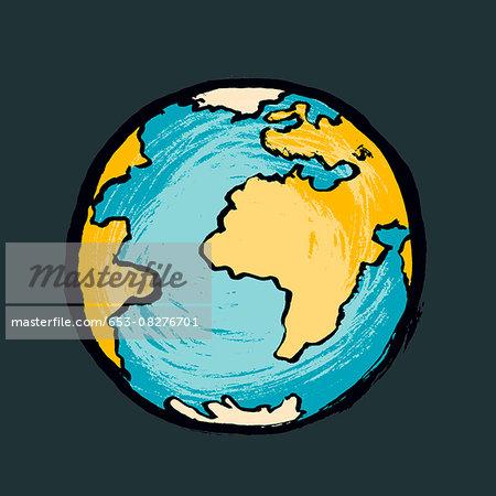 Illustration of globe against black background