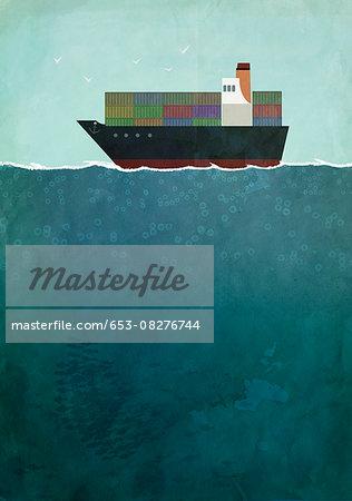 Illustration of cargo ship sailing on sea