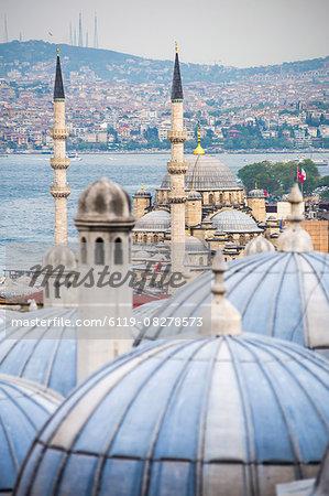New Mosque (Yeni Cami) seen from Suleymaniye Mosque, Istanbul, Turkey, Europe