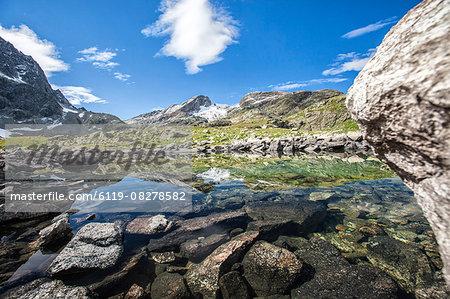 Summer day at Lake Grevasalvas, Engadine, Canton of Grisons (Graubunden), Switzerland, Europe