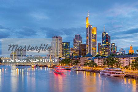 City skyline across River Main, Frankfurt am Main, Hesse, Germany, Europe