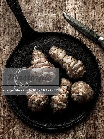 Vegetables on iron pan