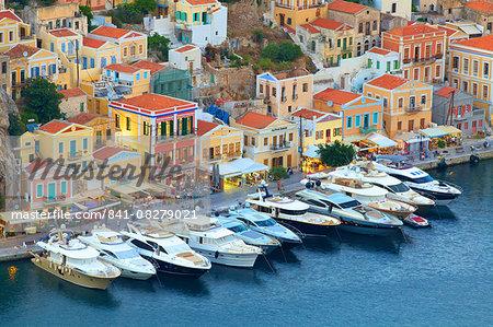 Symi Harbour, Symi, Dodecanese, Greek Islands, Greece, Europe