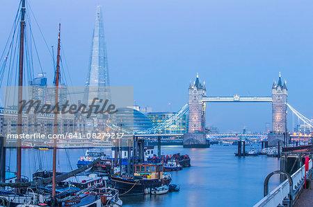 Tower Bridge and The Shard Building, London, England, United Kingdom, Europe